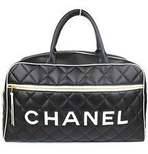 CHANEL Jumbo Logo Calf Skin Black Boston Hand Bag #36591 free shipping