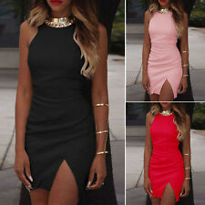 Sexy Womens Sleeveless Bodycon Mini Pencil Dress Slit Tops Formal Party Cocktail