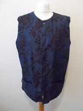 Women's Blue Denim Leaf Pattern Round Neck Waistcoat Vest by Anokhi  Size 12/14