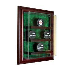 9 Puck Cabinet Style Display Case Nine Hockey Hinged Door Glass Suede NHL