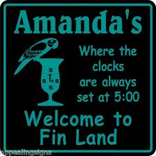 Personalized Parrothead Welcome To Fin Land Bar Beer Beach Sign Custom Usa Made