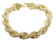 Mens Yellow Gold Finish Heavy Rope 11MM Simulated Diamond Bracelet 9.5 Inches