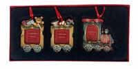 NEW Christmas Train Photo Frame Ornament Set Teddy Bear Toys St Nicholas Square