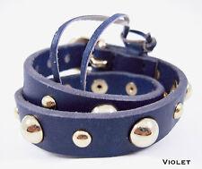 Linea Pelle Double Wrap Dome Stud Bracelet in VIOLET