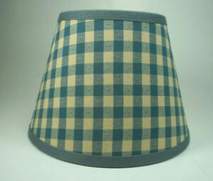 Country Waverly Delft Blue Tan Check Mate Fabric Lampshade Lamp Shade
