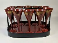 Vintage Set of 10 Lacquer Cordial Glasses with a Matching serving Tray