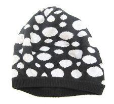 Portolano 100% CASHMERE Womans Hat Beret Slouchy Cap Polka Dots Black Gray OS