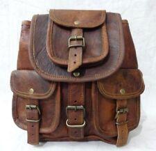 Vintage Men's Goat Leather Brown Small Backpack Bag rucksack Shoulder School Bag
