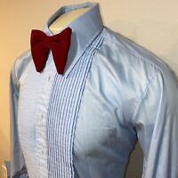 Vtg 70s AFTER SIX Tuxedo Shirt BLUE Ruffles TUX Dress Retro Prom Mens LARGE 16.5