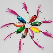5pcs Fishing Spinner Spinners Slices Feather Hooks Trout Salmon Fish Freshwater