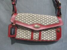 Guess Hobo Shoulder Bag Canvas & Leather Cream/Red