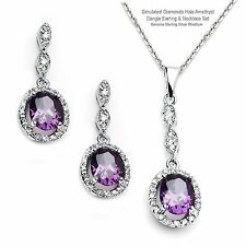 Simulated Diamonds Amethyst Halo Dangle Sterling Silver Earring & Necklace Set