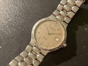 Vintage 1980s Longines Conquest Quartz Stainless Steel Watch