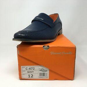 Men's Vincent Cavallo C-472 Slip On Loafer, Size 12 - Navy/Orange