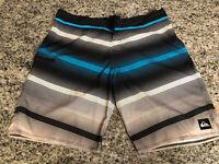 Quiksilver Board Shorts Size 36 Black Blue Gray Stripe