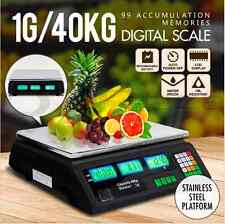 Commercial Shop Electronic Kitchen Scale Digital Weight Scales Food 40KG BK