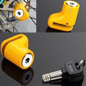 Bloque disque de frein jaune pour motos scooter vélo bloc frein sécurité 2 clés