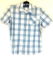 Rip Curl Boys Size 16 Short Sleeved Button Front Wheezel Shirt BNWT White Blue