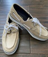 Sperry Top Sider Mens Original Boat Shoes Size 10 M Beige Canvas 2-Eye Lace Up