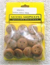 Model Shipways Fittings MS 2311. Walnut Deadeyes (18MM) 20 Per Pack. NEW.