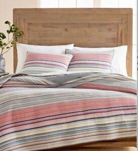 NEW Martha Stewart Rustic Stripe Yarn-Dyed Multi/Gray Pillow Sham Standard Queen