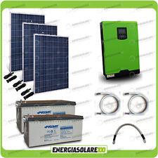 Kit solare fotovoltaico pannelli 750W Inverter onda pura 3KW PWM 50A Batterie AG