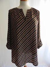 Anne Klein Women's Blouse V-Neck Long Adjustable Sleeves Size Large Black Gold