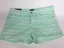 GAP 1969 Women's Shorts  SZ 8 Cuffed Ikat Chevron White Green Printed Nwt