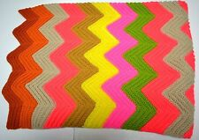 Colorful Hand Crocheted Handmade Afghan Blanket Unique Yarn Granny Afgan Throw