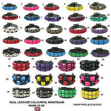 Unisex Cheap Metallic Colourful Pyramid Real Leather Gothic Wristband Made In UK