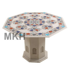 Coffee Table Octagon White Marble Vintage Stone Inlay End Table Top Scagliola