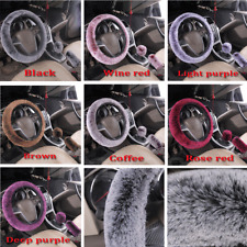 3Pcs/Se Fluffy Furry Velour Interior Car Steering Wheel Cover Accessory 7 Colors