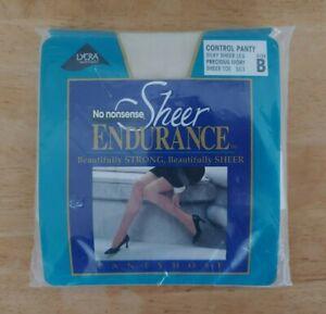 No Nonsense Sheer Endurance Control Panty, Precious Ivory, size B, Silky Sheer