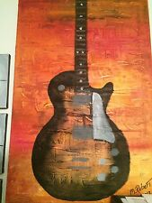 Original Pop Art Painting. Iconic Gibson Les Paul on done in oil on 20x30 canvas