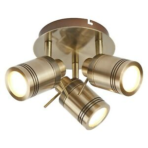Searchlight Samson LED 3 Lights Antique Brass Bathroom Light Ceiling Spotlight
