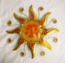 Wand Deko Glas Sonne Metall mit Schmucksteinen Dekoration Balkon gold rot 40 cm