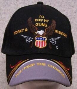 2nd Amendment I'll Keep My Guns Black Cap Hat Embroidered NEW