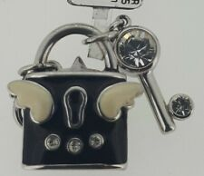 TINGLE Sterling Silver & Enamelled LOCK & KEY Charm - Gift Bag & Box - SCH62