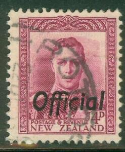 New Zealand. 1947. GVI. 4d. Magenta. Official.  BOB. U.