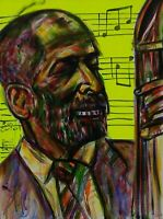"RON CARTER BASS JAZZ ART MUSICIAN ABSTRACT  ACRYLIC PAINTING 18"" X 24""."
