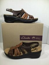 Clarks Women's Size 9.5 N Lexi Marigold Q Brown Multi Leather Sandal Shoes X-293