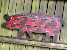 Vintage-Look Primitive Hand-Painted Wooden BBQ Sign - Hickory Smoked BBQ
