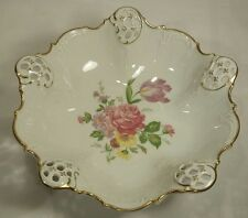 "Rosenthal Moliere 2875 Pink Rose 8 3/4"" Bowl Kronach Germany Laced W/Gold Trim"
