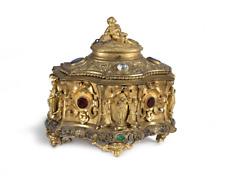 SUPERB ANTIQUE FRENCH PALAIS ROYAL ORMOLU FIGURAL CHERUB JEWELED CASKET BOX
