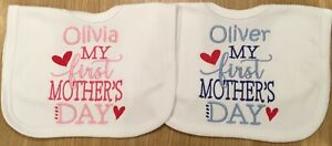 Personalised Embroidered Baby Bib, Toddler, My 1st Mother's Day, Bibs, Any Name