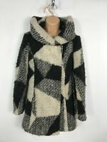 WOMENS NEW LOOK BLACK & CREAM SOFT WARM BUTTON UP WINTER OVERCOAT JACKET UK 6
