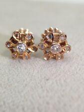 Super Sweet Antique 18K Yellow Gold Old  Mine Cut Diamond Flower Earrings
