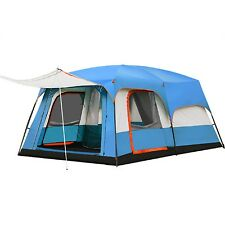 Blue 2 Rooms Picnic Travel Vacation Temporary Shelter Big 6-8 Persons Tent
