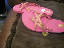 New Girls Hazel Raspberry & Lime Teva Olowahu Flip Flops, Size 5