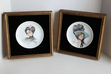 Vintage Harrison Fisher Girl Hat Reproduction by A. Graves Plates Framed Lady fa